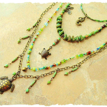 Bohemian Necklace, bohostyleme, Nature Inspired, Turtle Jewelry, Colorful Green Handmade Beaded Jewelry, Kaye Kraus