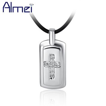 Almei 5%Off New Arrival Product 2017 Classic Elegant Chunky Black Chain Cross with Rhinestone Pendant Necklace For Women N253