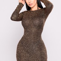 Gimme That Glitter Dress - Rose Gold