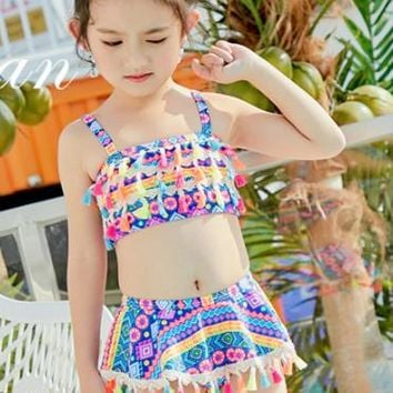 Swimsuit For Children Children's Swimwear Junior Girls Kids Summer 2018 New 1 9 Years Bathing Suits Printing Print Polyester