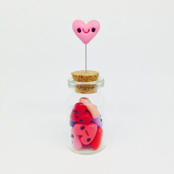 Miniature , Cute Little Snowball and a Star in a Bottle, Clay Fimo - Figurine Kawaii Style