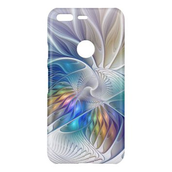 Floral Fantasy, Colorful Abstract Fractal Flower Uncommon Google Pixel Case