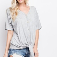 Organic Bamboo Knit Button Down Top