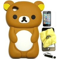Bukit Cell 3D Cartoon Bundle 4 Items: Brown Bear Soft Silicone Case for Ipod Touch 6 6th Generation / 5 5th Generation + Cleaning Cloth + Screen Protector + Metallic Stylus Touch Pen