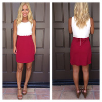 Two Tone Scallop Dress - BURGUNDY & CREAM