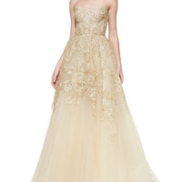 Strapless Embroidered Lace Gown