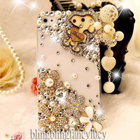 iPhone 4 case - best iphone 4 case - White iPhone 4 Case - Cute iphone 4 case - Crystal iPhone 4 case flowers - Bling iphone 4 case a Charm