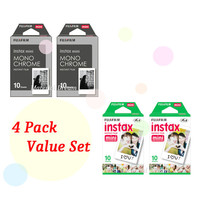 Instax Film 2 Double Package Value Set Fujifilm Instax Mini Film White Plus Monochrome Polaroid Instant Photos 40 Shots