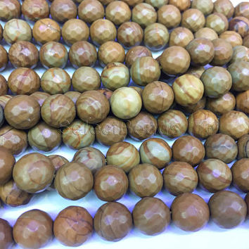 wood jasper faceted round beads - jasper semi precious stone - brown gemstone beads - jasper stone for sale - faceted jasper beads -15inch