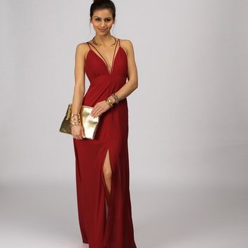 Burgundy Hey Good Looking Maxi Dress