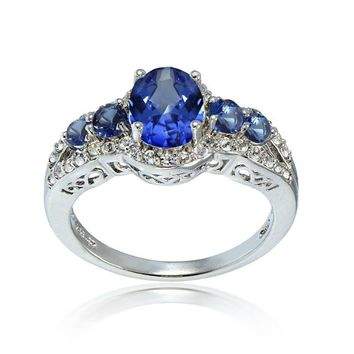 Simulated Blue Sapphire and Cubic Zirconia Oval Halo Five Stone Ring