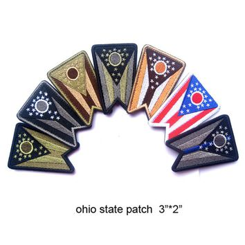 60 PCS Embroidered Ohio State Patches United States Flag Patch Tactical 3D Patches Combat Badge Fabric Flag Armband Cloth Badges
