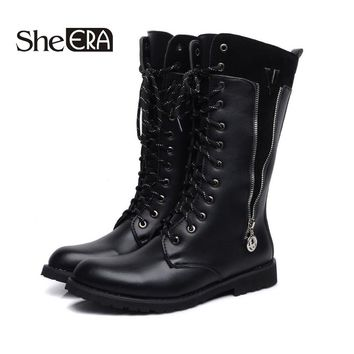 She ERA Men Army Boots Cool Metal Buckle Military Boots Lace Up Men Motorcycle Boots Fashion Zipper Men's Shoes Rock Punk Style