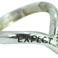 "Inspirational Message Ring "" Expect Miracles"" Mini V Shape Ring"