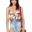 Tie Front Bralet Top With Floral Print
