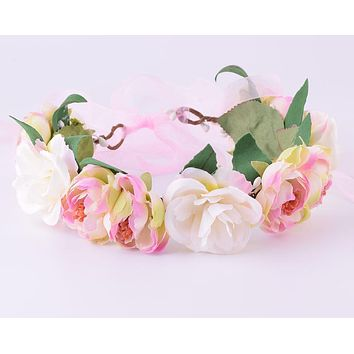 CXADDITIONS Camellia Rose Flower Crown Leafy Fairy Floral Crown Hair Head Band Wreath Wedding Headpiece Bridesmaid Forest Bridal