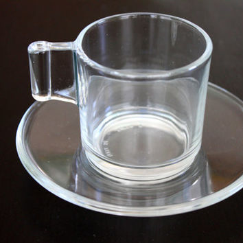 vintage art deco espresso cup & saucer // made in italy // clear glass