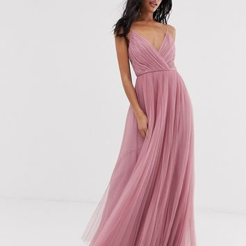 ASOS DESIGN cami pleated tulle maxi dress | ASOS