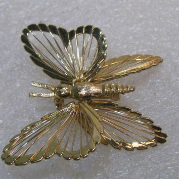 """Vintage Monet Butterfly Brooch, Wired Gold Tone, 1960's, 1.5"""" Long"""