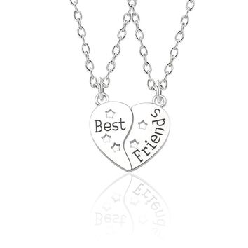 Trendy Best Friends Forever Necklace BFF Necklaces For Women Broken Love Heart Pendant Hollow Star Necklaces&Pendants Christmas