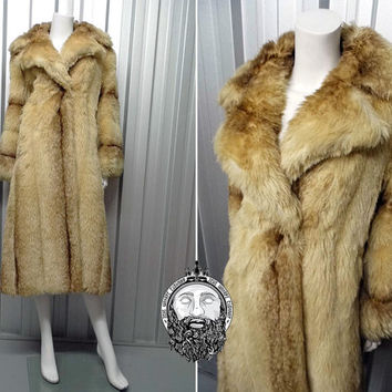Vintage 70s Faux Fur Coat Womens Outerwear Winter Jacket Blonde Fur Coat Bell Sleeves Maxi Coat Long Fur Coat Russian Princess Fake Fur