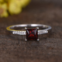 0.5 Carat Princess Cut Garnet Diamond Ring 14k White Gold Birthstone Engagement Rings For January
