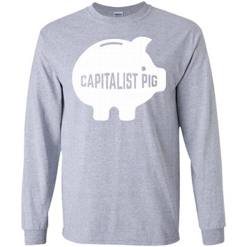 Capitalist Pig Piggy Bank 01  LS Ultra Cotton Tshirt