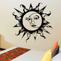 Vinyl Wall Sticker Decals Sun Moon Crescent Dual Ethnical Symbol  Decor for Bedroom Home Interior Art Mural Z719