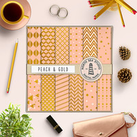 Peach Gold Foil Scrapbook Paper Kit Peach Digital Paper Golden Pattern Cards Invitations Stationary 12x12 In Gold Printable Background