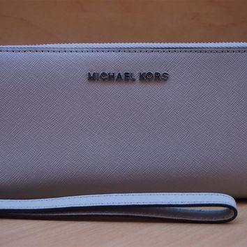 New Michael Kors Jet Set Travel Continental Leather Zip Coin Clutch Wallet $168