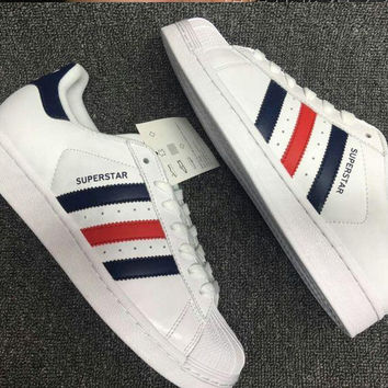 """""""Adidas"""" Fashion Shell-toe Flats Sneakers Sport Shoes Blue Red"""