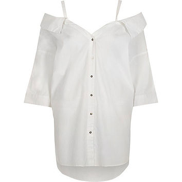 White bardot off shoulder top - bardot / cold shoulder tops - tops - women