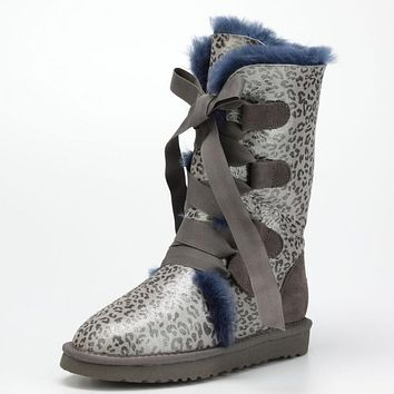 UGG Popular Winter Women Men Fur Leopard Print Snow Boots Anti-Skid High Boots Blue