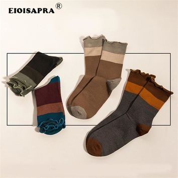 [EIOISAPRA] Japanese Pure Hue Knit Long Socks Women Funny Vintage Cotton Socks Kawaii Female Fashion Hipster Ankle Socks Mujer