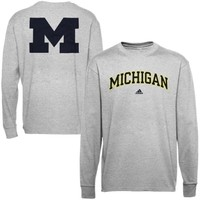 adidas Michigan Wolverines Relentless Long Sleeve T-Shirt - Ash
