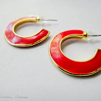 Vintage 1980's Bright Red and Gold Trimmed by FemmeArtistryVintage