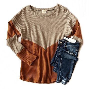 NEW! Rust and Oatmeal V-Detail Waffle Sweater