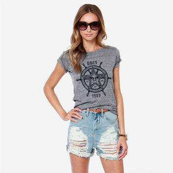 Gray Printed Short Sleeve T-Shirt