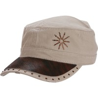 Women's Cowgirl Swank Tan Military Cap with Brown Hide