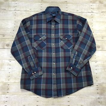 Vintage 1980s Navy / Purple / Gray Plaid Button Up Shirt Mens Size XL 17 - 17 1/2 Tall