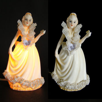 Mid Century Porcelain Night Lamp, Victorian Lady, I.W. Rice & Co., Japan