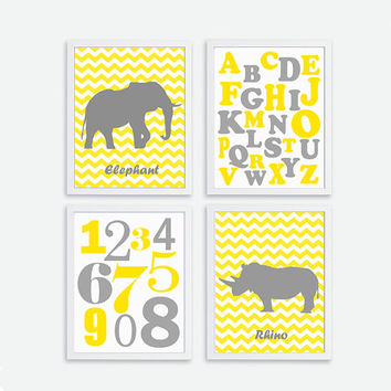 Baby Nursery Alphabet Art, ABC Numbers Nursery  Print Decor, Kids Wall Art INSTANT DOWNLOAD  Chevron Elephant, Rhino Yellow, Grey Poster