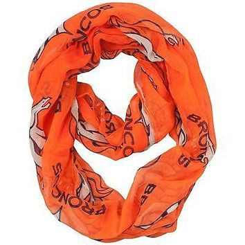 NFL Denver Broncos Sheer Infinity Scarf, One Size, Orange