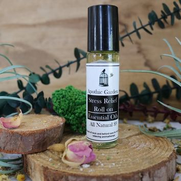 Stress Relief Roll on All Natural Essential Oils by Apothic Garden