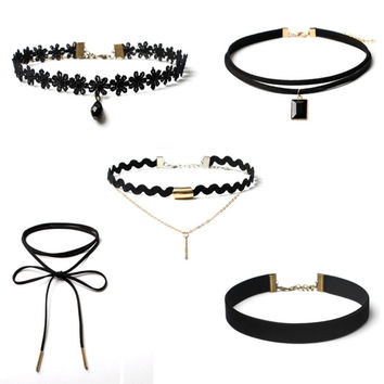 5 Pieces Set tumblr fashion Choker Necklace Unique Vintage Stretch Velvet Classic Gothic Tattoo Lace Choker Brand for girl