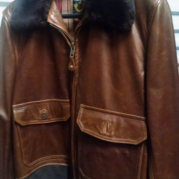 NEW SCHOTT NYC FLT2  LEATHER JACKET SIZE XL FUR REMOVABLE COLLAR BARNEYS NY