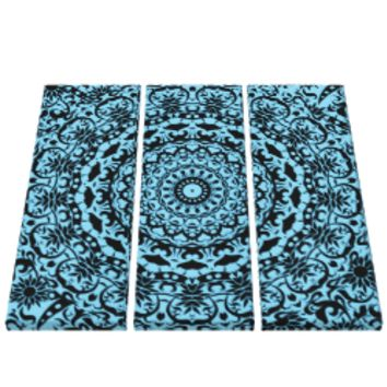 Teal Blue Modern Flower Pattern Canvas Gallery Wrapped Canvas