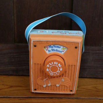 Vintage 1974 Fisher Price My Name is Michael Pocket Radio Genuine Swiss Musical Movement Great Nostalgic Nursery Decor Retro Toy