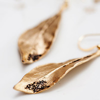 Autumn Leaf Earrings Antiqued Gold Leaf Simple by SilentRoses