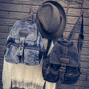 Vintage Denim Blue Backpack Travel Bag